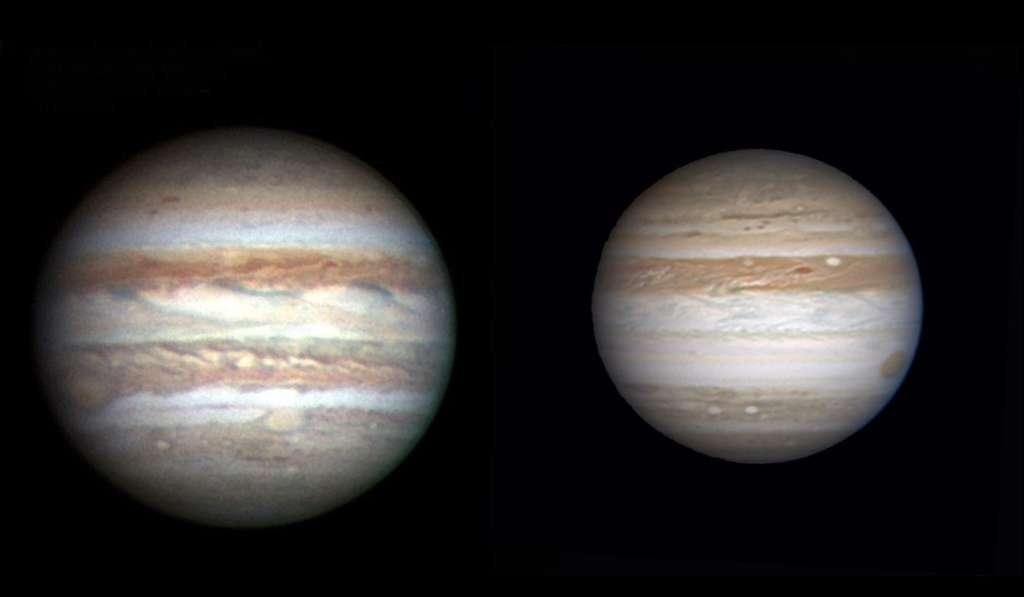La bande équatoriale sud de Jupiter a disparu. A gauche image de C. Go prise en 2006, à droite image d'A. Wesley prise début mai 2009