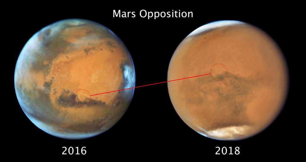 À droite, dernier portrait de Mars par Hubble à l'occasion de l'opposition de 2018. Par comparaison avec l'opposition de 2016, bien des détails sont estompés par la tempête globale de poussière qui s'est levée fin mai. © Nasa, ESA, STScI