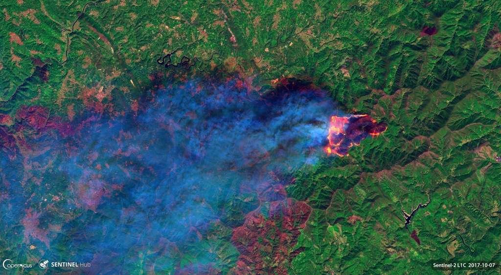 Incendie au Portugal vu par le satellite européen Sentinel-2 le 7 octobre 2017. © Copernicus 2017, ESA, Pierre Markuse