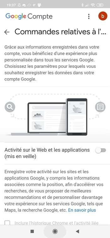 L'activité sur le Web et les applications est dorénavant mise en veille. © Google Inc.