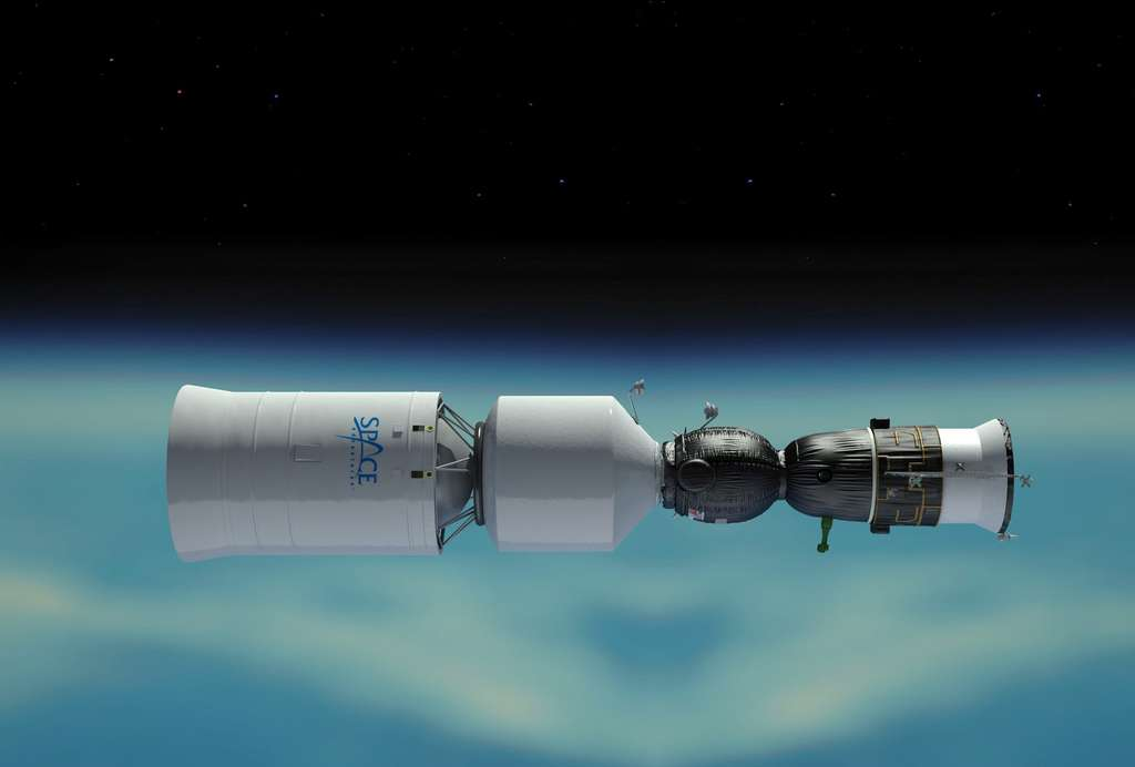 La version lunaire de la capsule Soyouz devrait être mise au point par la firme russe RKK Energia. Elle se compose d'un module additionnel comprenant une partie pressurisée et un compartiment qui abrite le système de propulsion. Ce module sera lancé lors d'un vol distinct par un Proton afin de s'amarrer en orbite à une capsule Soyouz, à proximité de la Station spatiale. © Roscosmos, Space Adventures
