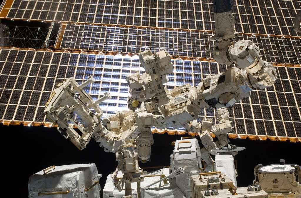 Conçus et utilisés pour décharger les astronautes des activités les plus risquées et les plus fastidieuses, les bras robotiques de la Station, comme Dextre ici à l'image, démontrent tout l'intérêt d'automatiser certaines tâches dans l'espace. © Nasa