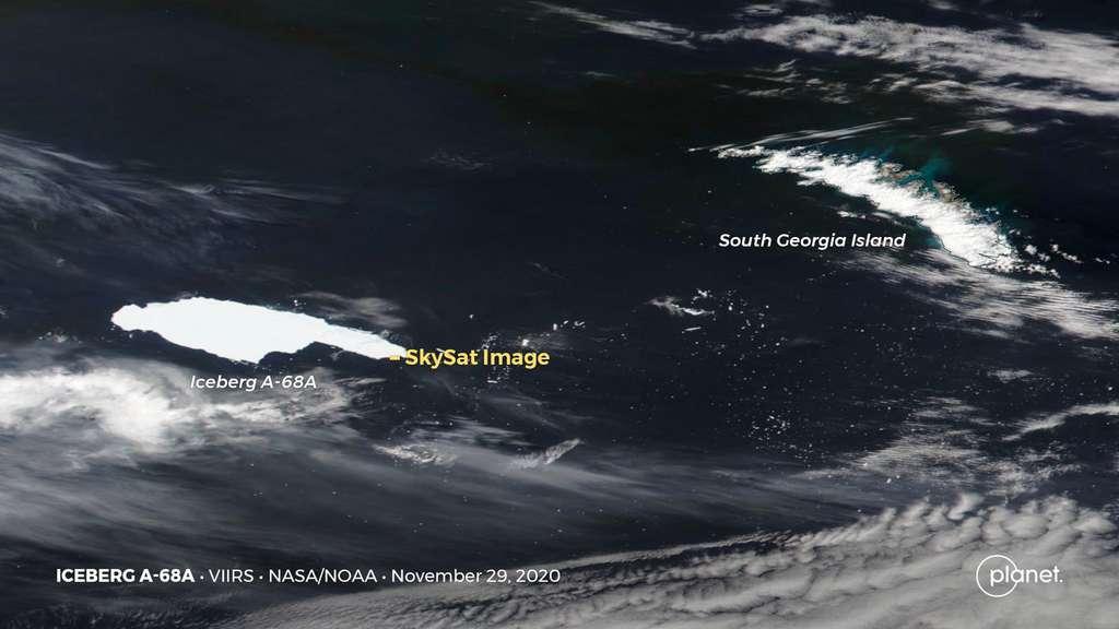 L'iceberg A-68A, le quatrième plus grand iceberg jamais enregistré, a fait craindre d'entrer en collision frontale avec l'île de Georgie du Sud. Finalement, il s'est disloqué avant d'entrer en collision avec l'île et tous ses fragments ont évité l'île de Georgie du Sud (décembre 2020). © 2020 Planet Labs, Inc.