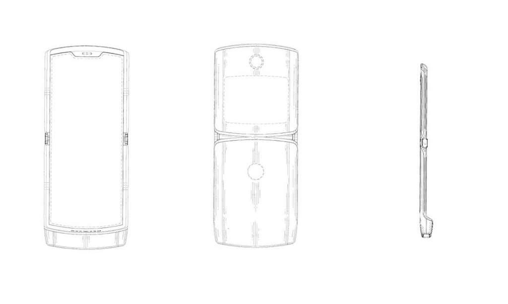 Les croquis, liés au brevet déposé par Motorola, laissent deviner un petit écran en façade pour compléter l'écran pliable situé à l'intérieur du téléphone © Motorola