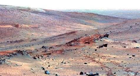 Un milliard de spores de bactéries ont été transportés sur la planète rouge par les différentes missions martiennes De la vie terrienne sur Mars ? (Crédits : Nasa)