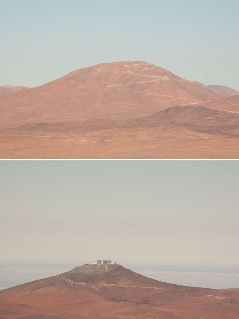 Vues des deux sites acquises depuis les sommets de Cerro Armazones et de l'observatoire Paranal. Une allure de planète Mars... © Rémy Decourt