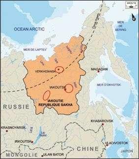 Les tombes dont les corps recelaient des restes du virus de la variole ont été découvertes en Iakoutie, à l'est de la Sibérie, dans trois régions (marquées par les ellipses rouges). © université Paul Sabatier