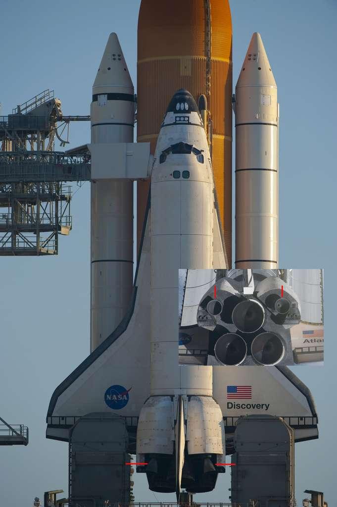 Le moteur principal du module de service d'Orion sera l'un des deux moteurs de l'Orbiting Maneuvering System (signalés par des traits rouges, en bas et sur l'image de détail) que les navettes utilisaient pour leurs manœuvres orbitales. © Nasa