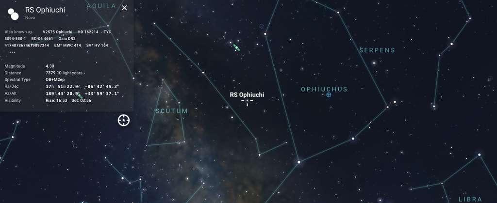 Position de RS Ophiuchi dans la constellation du Serpentaire. © Stellarium