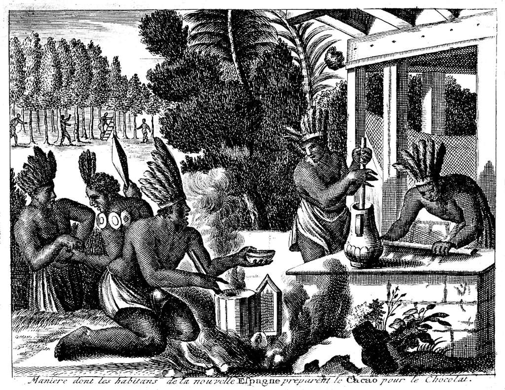 Quelle est l'origine du cacao ? D'où viennent les premiers chocolats ? Ici, Aztèques préparant le chocolat, dit xocoatl. © Chocosuisse