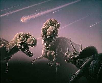 Un combat de dinosaures juste avant la chute de l'astéroïde qui va provoquer l'extinction de leur espèce. © DR