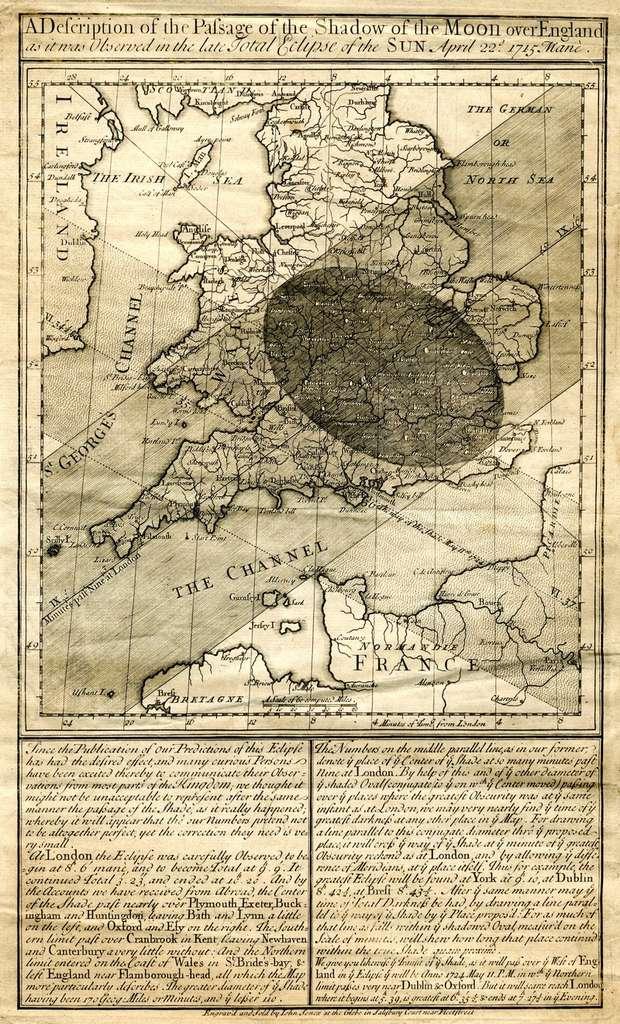 Ce document d'Edmond Halley présente une éclipse totale de Soleil, observable en Angleterre en 1715. © DR