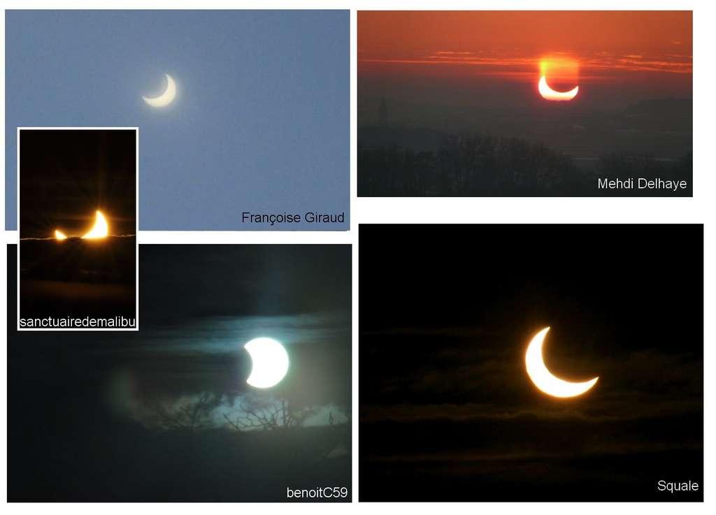 Les clichés de l'éclipse, de beaux croissants solaires pris par les utilisateurs du forum d'astronomie. © DR