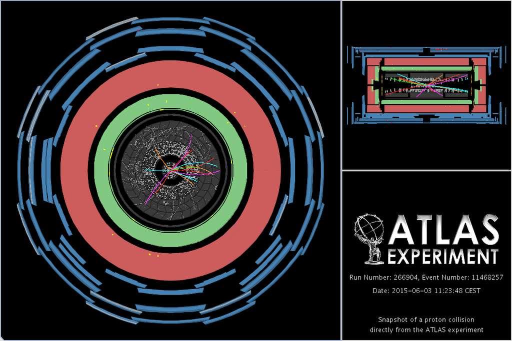 Le détecteur Altas n'était pas en reste et lui aussi a mis en évidence les trajectoires des particules produites par les collisions de protons à 13 TeV. © Cern