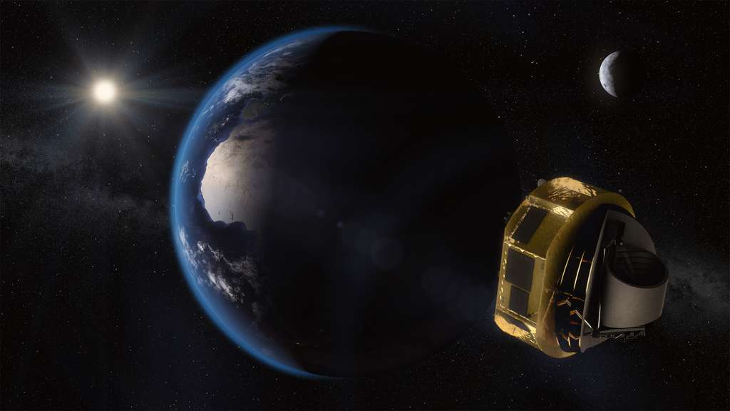 Image d'artiste du satellite Ariel en route vers sa destination finale : en orbite autour du point de Lagrange L2. © ESA/STFC RAL Space/UCL/Europlanet-Science Office