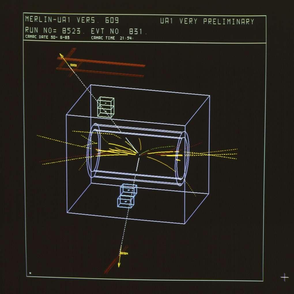Une image d'ordinateur montrant dans le détecteur UA1 au début des années 1980 le fameux boson Z0. Ce détecteur ne pourrait pas avoir vu le jour sans l'invention de la MWPC par Georges Charpak. © Cern