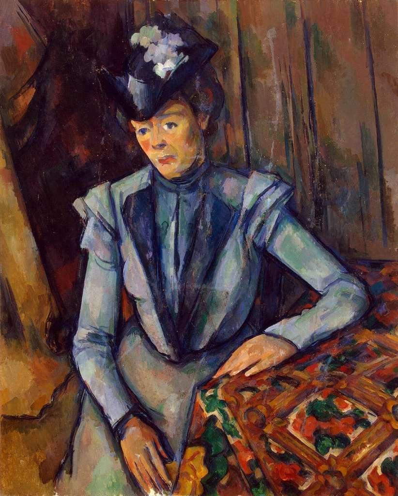 Portrait de dame en bleu par Cézanne. © Paul Cézanne, Domaine Public