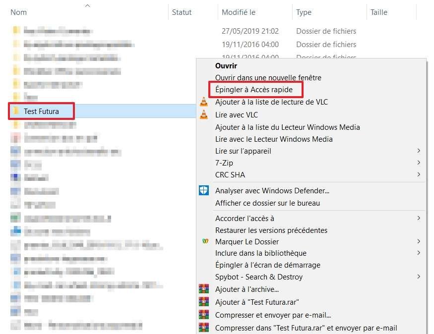 Faites un clic droit et choisissez « Épingler à Accès rapide ». © Microsoft