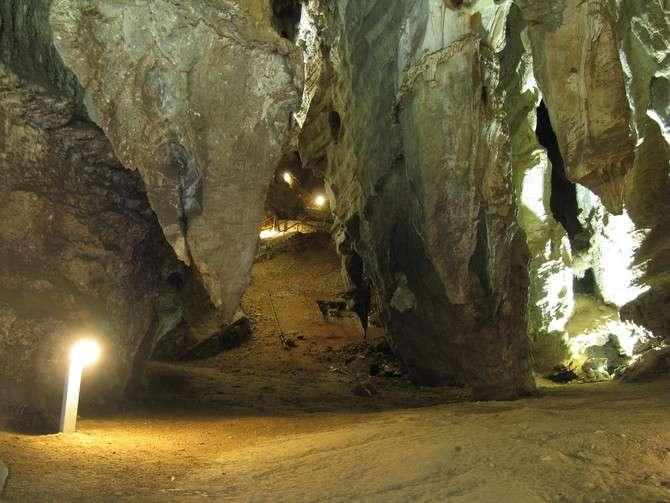 La partie touristique des grottes de Sterkfontein (ensemble où ont été découverts les ossements de Little Foot) traverse des galeries aux formes étranges. De grands pendants de roche descendent de la voûte sur plusieurs dizaines de mètres. Ces morphologies permettent de savoir que cette grotte s'est formée en profondeur, par une lente dissolution des dolomies qui baignaient alors dans la nappe phréatique. © Laurent Bruxelles, Inrap