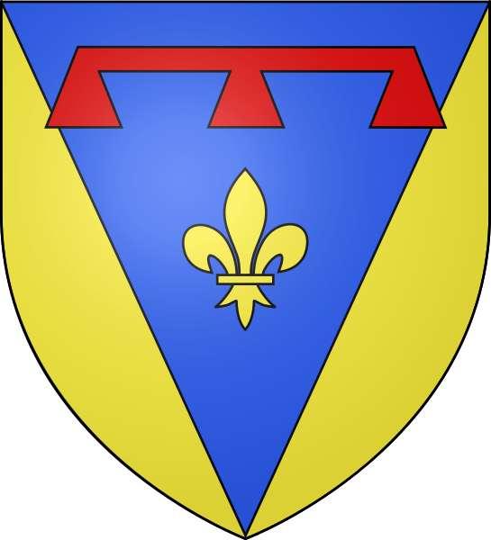 Le blason du Var, couleur or et bleu azur, est composé d'une fleur de lys surmontée d'un motif de lambel de gueules. Le giron (pièce d'étoffe en pointe) évoque la lettre «V », la première lettre du département. © DP