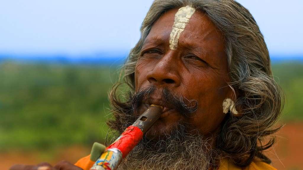 Le joueur de flûte d'Orchhâ, au Madhya Pradesh, en Inde