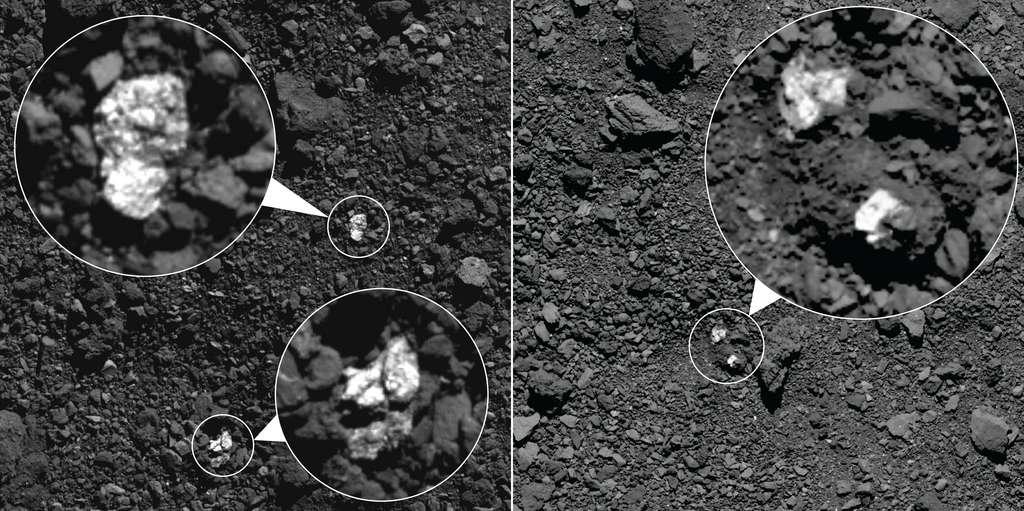 Au printemps 2019, Osiris-Rex a capturé ces images, qui montrent des fragments de l'astéroïde Vesta présents sur la surface de Bennu. Les rochers brillants (encerclés sur les images) sont des matériaux riches en pyroxène de Vesta. Certains matériaux brillants semblent être des roches individuelles (à gauche) tandis que d'autres semblent être des clastes dans de plus gros rochers (à droite). © Nasa, Goddard, University of Arizona