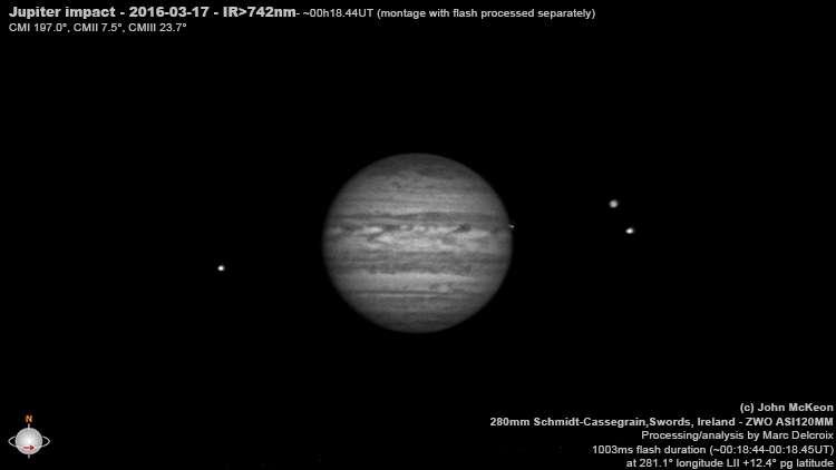 L'image de Jupiter extraite de la vidéo de l'Irlandais John McKeon et analysée par Marc Delcroix. On distingue nettement sur le limbe de Jupiter l'éclat de l'impact. Les deux satellites de droite sont (de gauche à droite) Io et Ganymède et celui, solitaire, de l'autre côté de Jupiter, est Europe. Ces images vont être analysées par des astronomes professionnels pour en tirer le maximum d'informations. © John Mc Keon, avec la courtoisie de Marc Delcroix