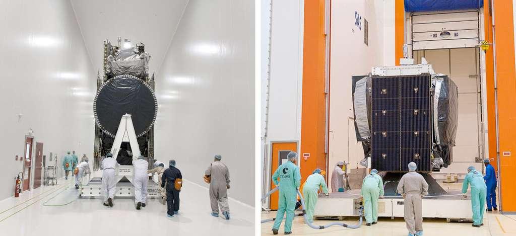 Les satellites de télécommunications JCSat-13 (gauche) et Vinasat-2 (droite). © Esa/Cnes/Arianespace & Optique Video CSG/P. Baudon