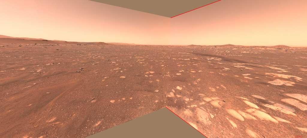 Détail du site de lancement d'Ingenuity (Van Zyl Overlook) photographié par la caméra Navcam de Perseverance. © Nasa, JPL-Caltech