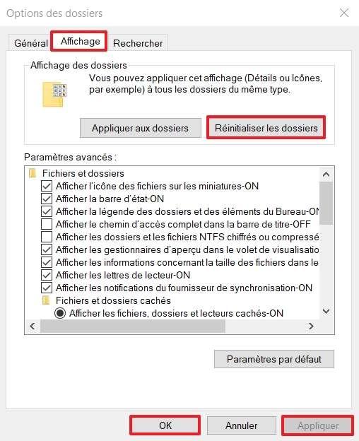 """Cliquez sur """"Réinitialiser les dossiers"""". © Microsoft"""