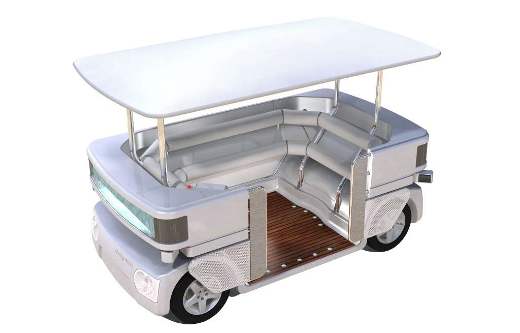 Navia n'est pas vraiment une voiture. C'est un moyen de transport en commun pour de petites distances, entièrement robotisé et capable de se déplacer en ville, sans imposer d'infrastructure au sol. Les batteries au lithium-ion fournissent une autonomie de 150 km selon son fabricant. © Induct