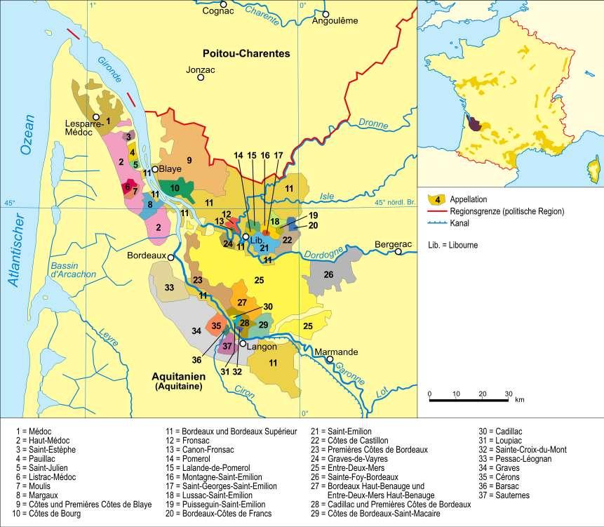 Les régions viticoles du Bordelais. Parmi tous les vins de Bordeaux, citons les plus connus : Médoc, Margaux, Saint-Émilion, Sauternes... © DalGobbom GNU Free Documentation License version 1.2