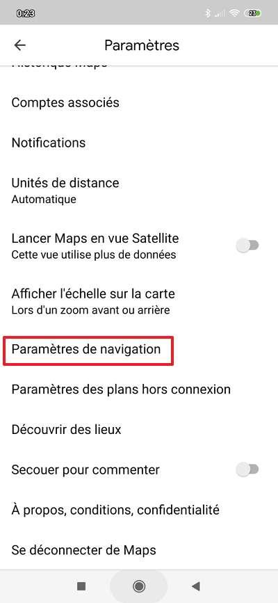 Les « Paramètres de navigation » se trouvent en bas du sous-menu « Paramètres ». © Google