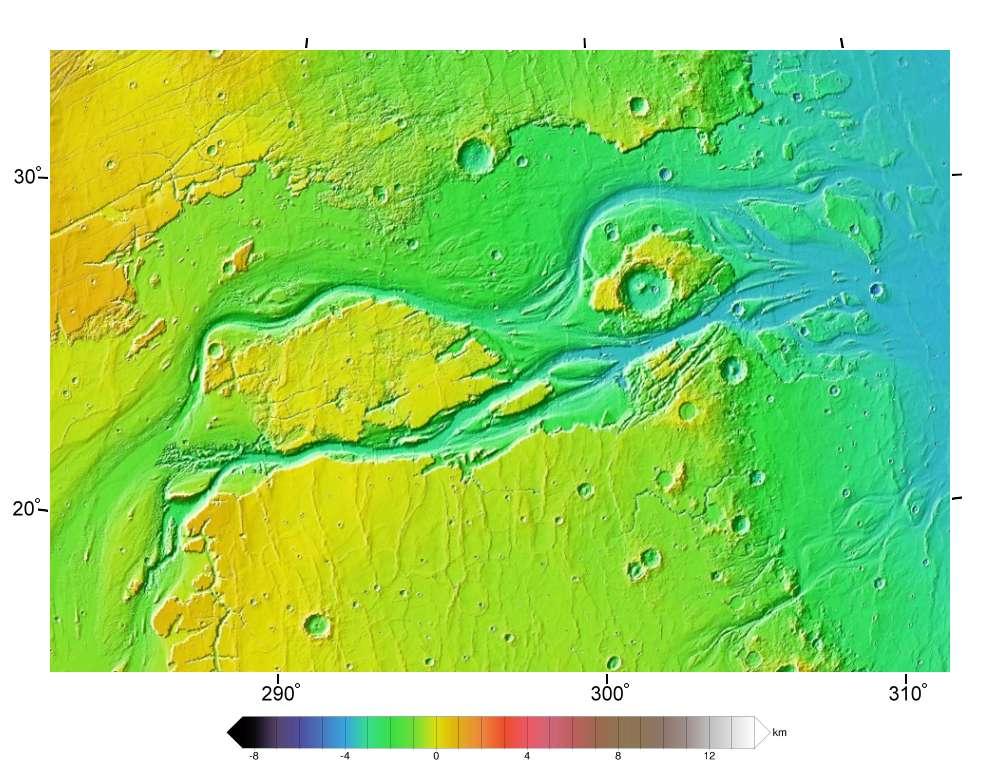 Carte topographique de Kasei Valles, d'après des données de la Nasa. On peut distinguer les deux bras principaux. © Areong, Wikimedia Commons, GNU 1.2
