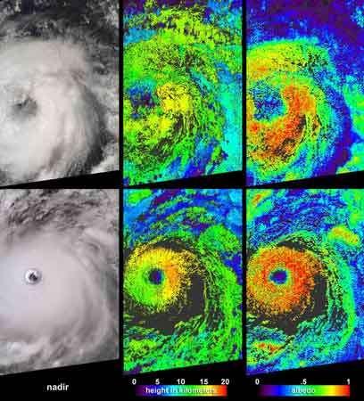 Différents aspect de l'ouragan Isabel © Nasa