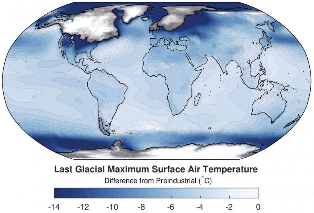Cette carte globale montre les différences de température par rapport à l'époque préindustrielle. Le bleu foncé se traduit par des températures plus fraîches. Les calottes glaciaires du passé se superposent aux continents. © Jessica Tierney