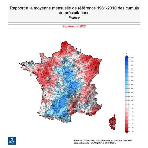 En ce mois de septembre 2021, ce sont surtout les régions du nord-est, du nord et du nord-ouest qui ont connu des déficits de précipitations. © Météo France