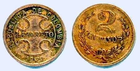 Deux Centavos 1921 de Colombie en cupronickel