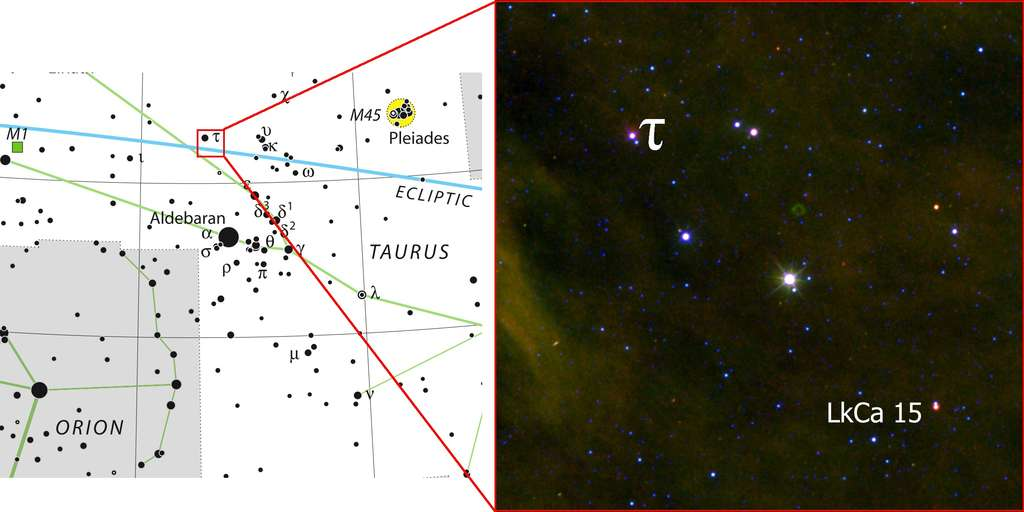 Voici où se trouve sur la voûte céleste l'étoile LkCa 15 dans la constellation du Taureau (Taurus). © Krauss, Irelande