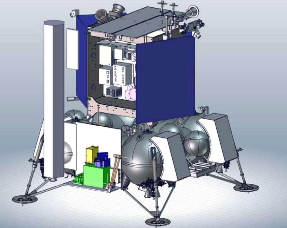 Le Luna-Resurs (Luna 27) doit se poser au pôle sud sur un site qui pourrait accueillir une base habitée. Cette mission doit notamment estimer les ressources exploitables pour une présence humaine. © Roscosmos