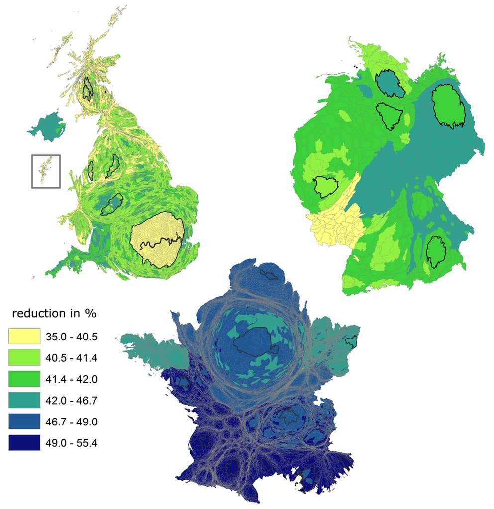 Le potentiel de réduction de la quantité d'eau utilisée dans nos aliments en Grande-Bretagne, en Allemagne et en France, ajusté selon les paramètres démographiques et socio-économiques. © EU 2018
