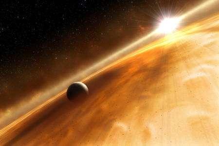 Cliquez pour agrandir. Une vue d'artiste de Fomalhaut b. Crédit : ESA, NASA, and L. Calcada (ESO for STScI)