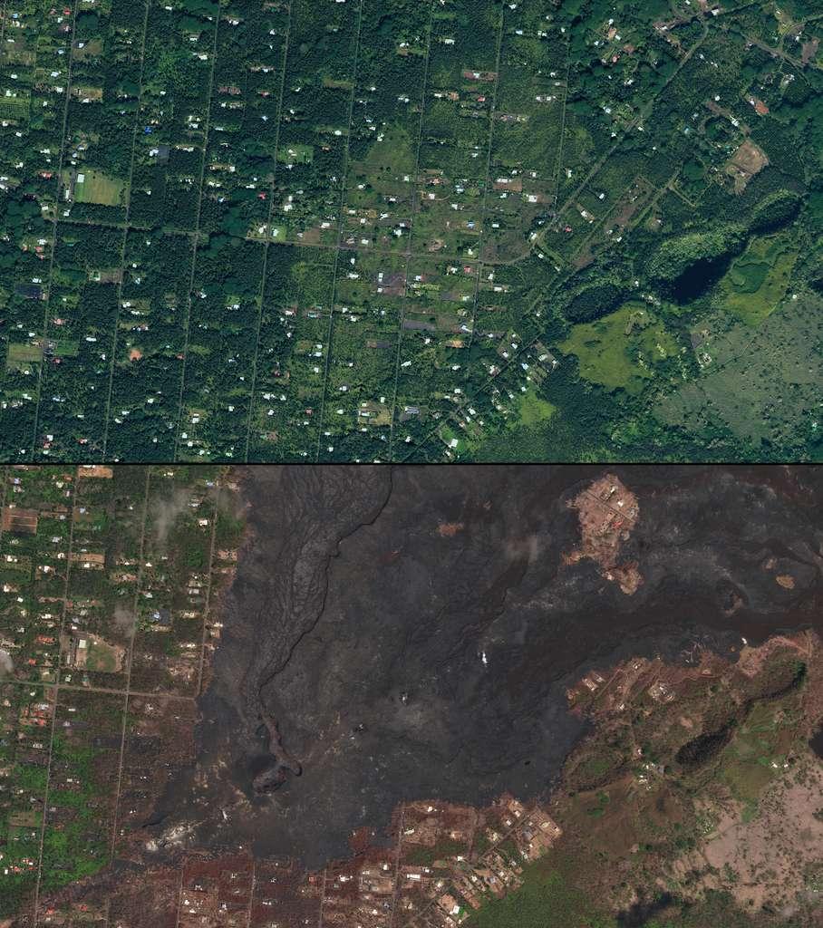 En mai 2018, sur l'île hawaïenne Big Island, la violente explosion du volcan Kilauea sur l'île a déclenché un nuage de cendres dangereuses recouvrant les domaines autrefois sereins de Leilani. Des centaines d'habitations ont été détruites, contraignant des milliers de personnes à évacuer le site. © 2018 Planet Labs, Inc.