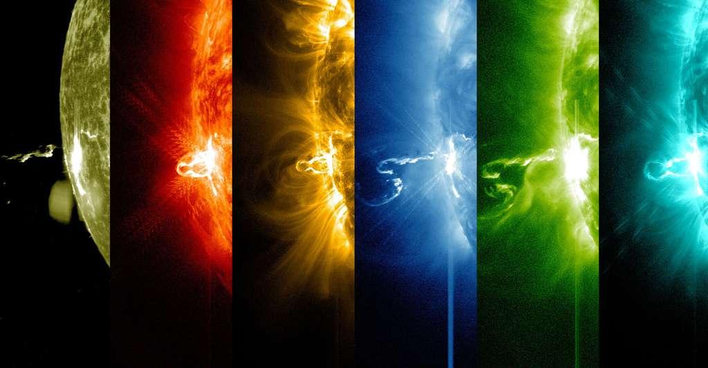 Plusieurs éruptions solaires à la chaîne. © NASA/SDO, Wikimedia commons, DP