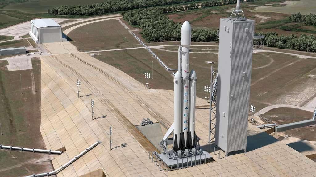 Le premier vol d'essai du lanceur lourd Falcon Heavy est prévu cet été et SpaceX annonce un vol à vide d'une capsule Crew Dragon également en 2017. Toutefois, un vol à destination de la Lune nous paraît peu probable. Après ces deux vols inauguraux, SpaceX devra réaliser deux autres vols habités à destination de la Station avant d'envisager une mission habitée autour de la Lune. © SpaceX