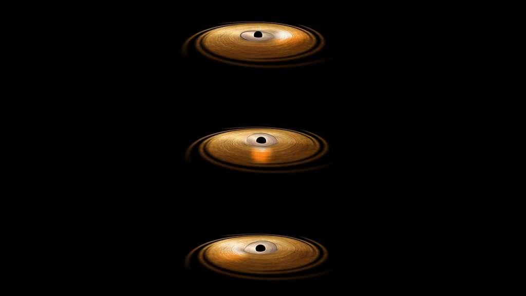 Une vue d'artiste du disque d'accrétion autour du trou noir H1743-322. La partie centrale est constituée de plasma et elle effectue un mouvement de précession, ce qui la conduit à illuminer tel un phare les parties externes du disque d'accrétion. Le rayonnement du plasma, dans le domaine des rayons X, provoque une sorte de fluorescence des ions de fer présents dans ces parties externes du disque. © Esa, ATG Medialab