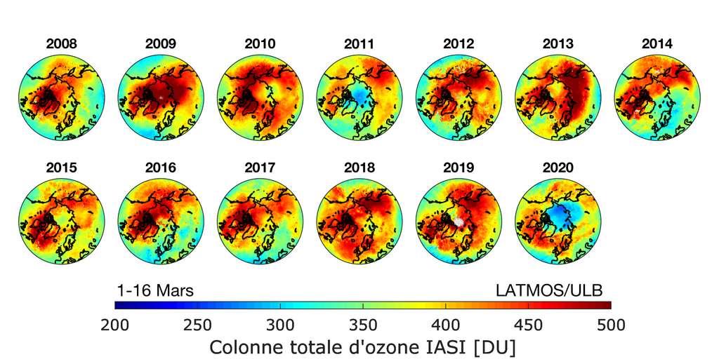 Distribution d'ozone mesurée chaque année à la fin de l'hiver (1-16 mars) par l'instrument IASI à bord du satellite Metop. Les couleurs du jaune au rouge indiquent les régions où les concentrations d'ozone sont élevées, les couleurs bleues indiquent des concentrations deux fois plus faibles (2011 et 2020). © Anne Boynard (Latmos/IPSL)