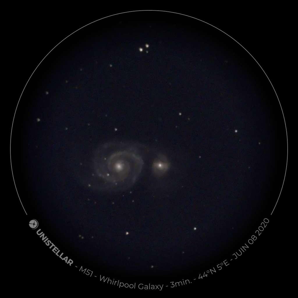 M51 (Messier 51) observée avec l'eVscope. © Futura, XD