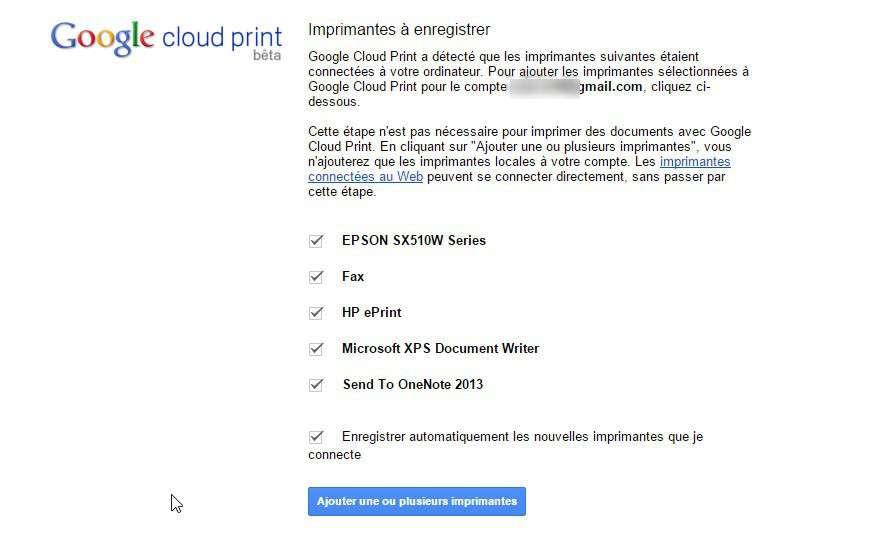 Google Cloud Print détecte automatiquement toutes les imprimantes locales et les services. © Futura-Sciences