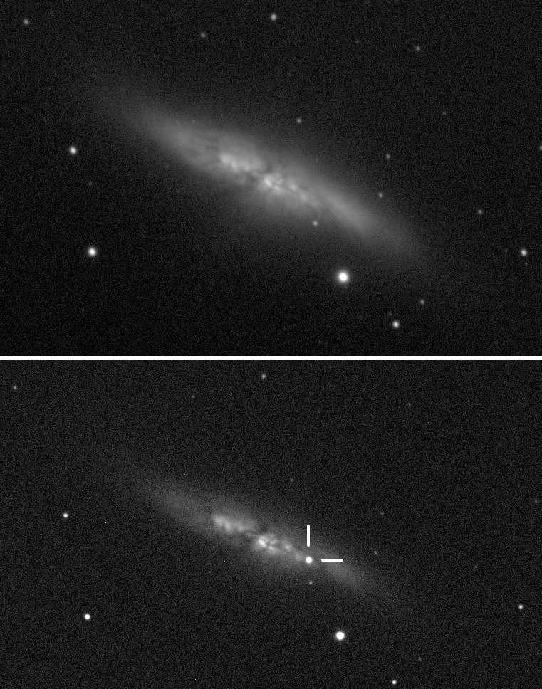 Ces deux photographies de la galaxie du Cigare, M82, ont été prises avant et après l'apparition de la supernova SN 2014J. Celle-ci est bien visible sur l'image du bas. © UCL, observatoire de l'université de Londres, Steve Fossey, Ben Cooke, Guy Pollack, Matthew Wilde, Thomas Wright